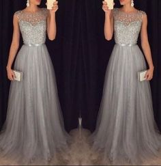 charming beading top gray tulle prom dress,formal gorgeous cheap evening dress,FS052