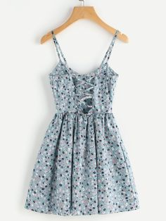Shop Random Ditsy Print Crisscross Back A Line Cami Dress online. SheIn offers Random Ditsy Print Crisscross Back A Line Cami Dress & more to fit your fashionable needs. Trendy Dresses, Simple Dresses, Trendy Outfits, Cute Dresses, Casual Dresses, Short Dresses, Floral Dresses, Casual Clothes, Maxi Dresses