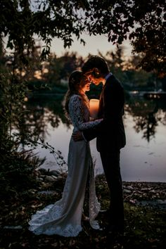 Bride Lace Backless Bridal Gown Groom Charcoal Suit Purple Patterned Tie Candle Lake From Dawn To Eternity Autumnal Wedding Ideas http://www.nataliaibarra.com
