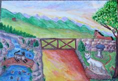 """""""Leo and Violet on Farm"""" (2016) Acrylic Craft Paint on Board 20""""x28""""  Granddaughter's cats- She also loves horses, butterflies and Koi Ponds all in this painting"""