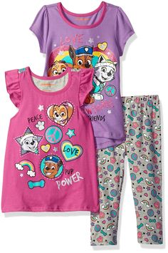 Nickelodeon Girls' 3 Piece Paw Patrol Knit Tops and Legging Set, Pink, 12m. Elastic all around the waist. Great outfit. Super cute. Your kid will love this.