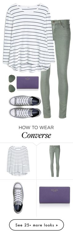 """""""cutie"""" by tabooty on Polyvore featuring AG Adriano Goldschmied, MANGO, Converse, Kate Spade and Ray-Ban"""