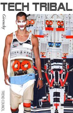 SS 14, mens young mens, runway prints, tech tribal
