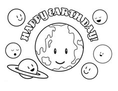 Happy Earth Day For You And Me Printable Coloring Sheet