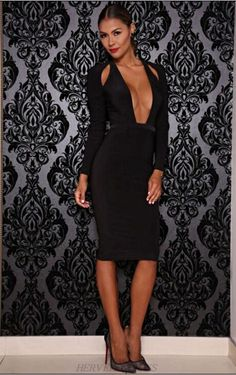 Herve Leger Black Long Sleeve Plunge Bandage Dress