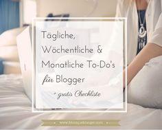 Einen erfolgreichen Blog zu führen, sei es nun als Marketinginstrument für Euer Unternehmen oder um selbstständig etwas dazu zu verdienen, ist eine Menge Arbeit. Ein Blog beinhaltet nicht nur das Schreiben und Veröffentlichen schöner und informativer Artikel – es gibt noch eine Vielzahl anderer Aufgaben. Um Euch zu unterstützen habe ich drei Listen zusammengestellt – für die täglichen, wöchentlichen und monatlichen Aufgaben. Ich hoffe Ihr mögt Checklisten genau so sehr wie ich.