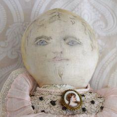 Early Cloth Doll with Ink Drawn Face - Lynette Gross Antique Dolls, LLC #dollshopsunited