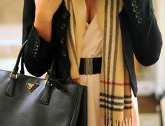Black blazer with burberry scarf, and ofcourse prada