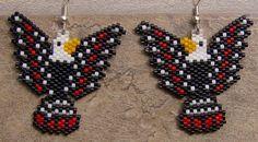 Inspiración tribal águila pendientes artesanales semillas