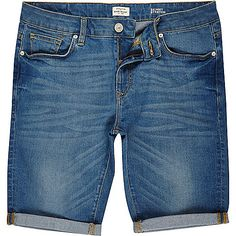 Short skinny stretch bleu délavé - Shorts en jean - shorts - Homme