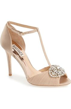 949761ad951 darling t-strap pump by Badgley Mischka. A sparkling crystal ornament and  pleated chiffon heighten the vintage elegance of a peep-toe sati.