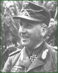 General der Panzertruppe Walther Kurt Josef Nehring (15 August 1892 – 20 April 1983), Knight's Cross on 24 July 1941 as Generalmajor and commander of the 18. Panzer-Division; 383rd Oak Leaves on 8 February 1944 as General der Panzertruppe and commanding general of the XXIV. Panzerkorps; 124th Swords on 22 January 1945 as General der Panzertruppe and commanding general of the XXIV. Panzerkorps