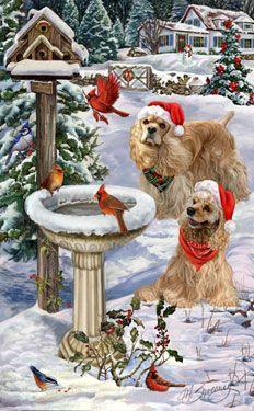 --Cocker Spaniel - Christmas Visitors