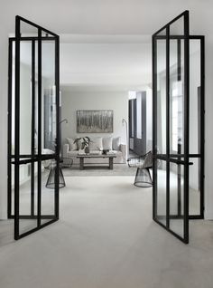 Beautiful steel doors by David Gaillard - picture by Sandrine-Fournier Style At Home, Interior Architecture, Interior And Exterior, Living Spaces, Living Room, Internal Doors, Deco Design, Windows And Doors, Home Fashion