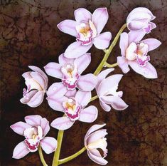 Resists in silk painting Orchids Painting, Silk Painting, Colorful Flowers, Beautiful Flowers, Orchid Tattoo, Fibre And Fabric, Cymbidium Orchids, Silk Art, Chinese Painting