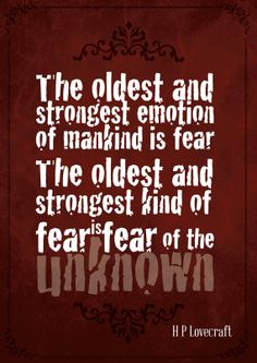 Gothic Art Print Poster - The oldest and strongest emotion of mankind is fear by HP Lovecraft - Digital Download