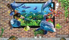 Wall Design Fish Out Aquarium Stok İllüstrasyon 1482274577 Underwater Wallpaper, 3d Wallpaper, Wall Design, Scenery, Fish, Illustration, Image, Fantasy, Art