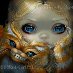 Faces of Faery 232 Alice & Cheshire Cat by Jasmine Becket-Griffith - Alice in Wonderland with the Cheshire Cat - lowbrow art - Strangeling Alice artwork