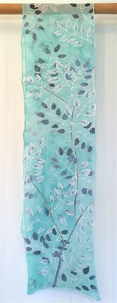 For the full silk scarf collection, visit us at: www.silktakuyo.com Silk, Chiffon, Floral scarf, Gift for her, Silk Wedding Anniversary Gift, Hand painted silk scarf, Ice Green Navy Vine, silk scarf painting, This long and transparent silk chiffon scarf will add gorgeous colors of