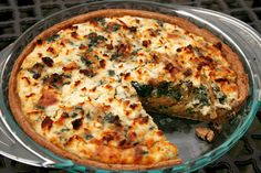 spinach, caramelized onion, and feta quiche