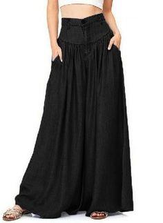 Wide Legs Long Pants for Women Plus Size Soft Pantalon Casual High Waist Trouser Wide Leg Denim, Wide Leg Pants, Wide Legs, Washed Denim, Blue Denim, Jean Vintage, Vintage Linen, Vintage Floral, Pantalon Long