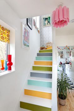 Colourful staircase - © Bruce Hemming/GAP Interiors love the black and white kitchen floor in the background Interior Stairs, Interior Exterior, Interior Design, Small Staircase, Staircase Design, Stair Design, Painted Staircases, Painted Stairs, White Kitchen Floor