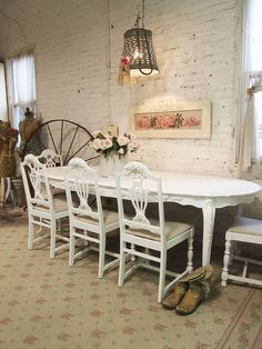 Painted Cottage Chic Shabby White French Dining by paintedcottages, $495.00