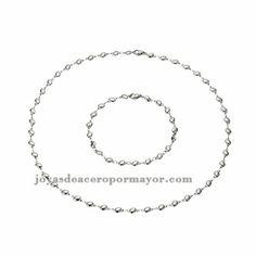juego de collar y pulsera en acero moda especial plateado inoxidable para mujer -SSNEG921806