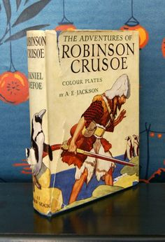 Robinson Crusoe book of the 1920s... not too sure about the veracity of the penguins...