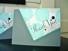 Handmade Thank You Cards Set of 2 Floral Thank by apaperaffaire