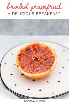 This grapefruit is broiled in the oven after being topped with brown sugar and vanilla. It's a delicious fall and winter breakfast or dessert. #grapefruit #grapefruitrecipes Grapefruit Benefits, Broiled Grapefruit, Grapefruit Recipes, Sweet Potato Breakfast, Breakfast Bowls, Vegan Butter Chicken, Bananas Foster French Toast, Delicious Breakfast Recipes, Healthy Recipes