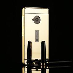 Metal Aluminum Frame Acrylic Plastic Mirror Back Cover Case For Nokia Microsoft Lumia 535 550 630 640 830 930 950 XL 1320 1520