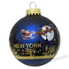 Santa Claus Christmas NYC Skyline Christmas Ornaments 3 inch glass ball with glitter New York City skyline.  A unique and cute Christmas ornament for this year's Christmas tree.  Enjoy the season! (http://www.nycwebstore.com/santa-claus-christmas-nyc-skyline-ornament/)