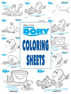 Finding Dory Party Coloring Sheets with all characters Dory, Nemo, Marlin, Hank, Destiny, Connect the Dots and Maze Printables