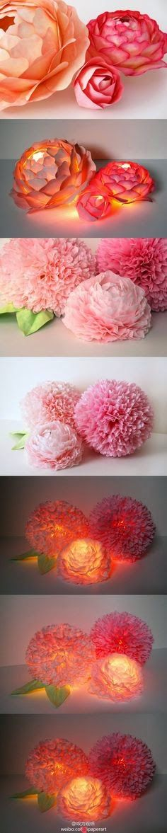 Amazing idea -paper flowers and lights