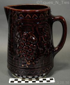 Antique North Star Red Wing Brown Stoneware Grape and Trellis Design Pitcher (FF