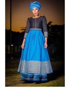 African Fashion Skirts, South African Fashion, African Fashion Designers, African Traditional Wear, Traditional Fashion, Traditional Dresses, Seshoeshoe Dresses, Nice Dresses, Diy Fashion