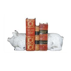 Keep your favorite reading material organized with the help of these Farmhouse Pig Bookends. Painted with an antique white finish, the terra cotta organizers have a rustic charm that works well in a va...  Find the Farmhouse Pig Bookends, as seen in the Christmas in the Country  Collection at http://dotandbo.com/collections/styleyourseason-christmas-in-the-country?utm_source=pinterest&utm_medium=organic&db_sku=CCO0343