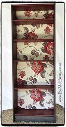 Refurbished graphite & dark coral floral bookcase