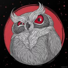 A grumpy ole hoot owl art print, by Anastasia in red Red Wall Art, Red Art, Owl Artwork, Horror Artwork, Monster Art, Gothic Art, Cool Paintings, Creature Design, Creepy
