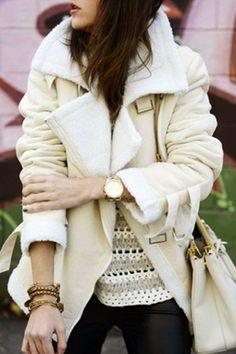 Suede Lapel Collar Long Sleeve Woolen Liner Coat