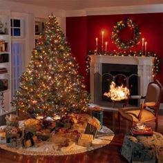 Beautiful Christmas Scenes, Christmas Scenery, Christmas Village Display, Beautiful Christmas Decorations, Holiday Decor, Merry Christmas Pictures, Merry Christmas To All, Christmas Living Rooms, Christmas Porch