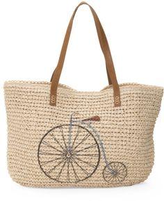 Bicycle Print Straw Tote Bag