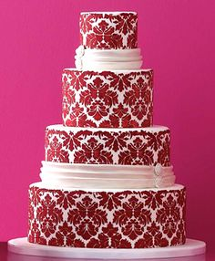 Damask is one of my favorite patterns to decorate with.  Also this would be better in black on white or white on black.
