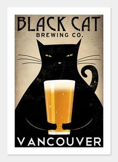 FREE Personalization Black cat Brewing Company Black Cat Graphic Art Illustration 10x15 giclee print SIGNED
