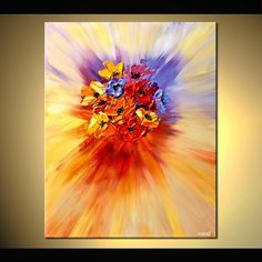 Original abstract art paintings by Osnat - abstract painting of bunch of colorful flowers