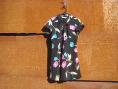 80's  black with tulips grunge chiffon mini dress