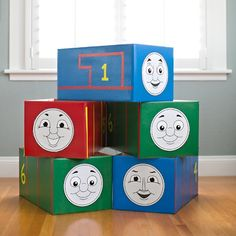 An easy tutorial for making lots of Thomas and Friends costumes + 5 free printable faces!