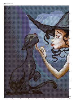 Cross-stitch Hot Witch & her Black Cat, part 1.. color chart on part 2…