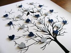 3D Heart Tree - 8x10. Wedding. Anniversary. Special Occasion. YOUR CHOICE of Colours. Can be Personalized at Bottom - Made to Order